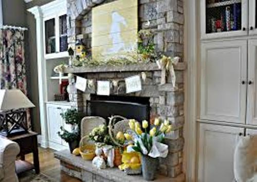 Stone Fireplace Mantel for Easter