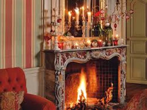Traditional Fireplace at Christmas