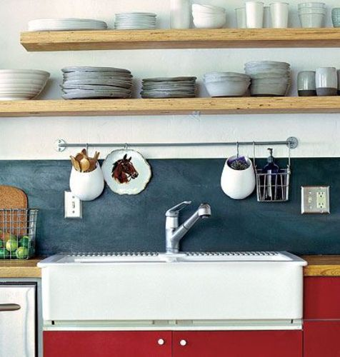 Wall Shelves Behind Kitchen Sink