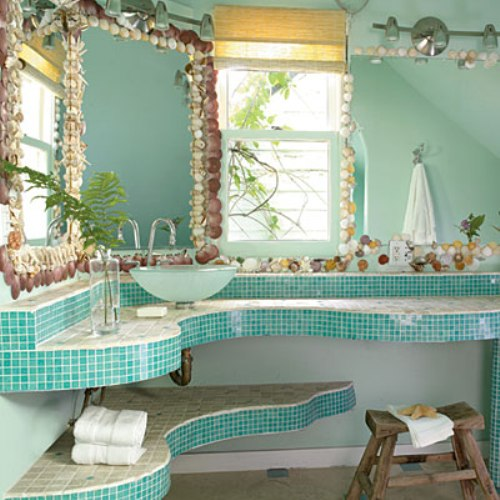 Enchanting Bathroom Mirror Frame with Shells