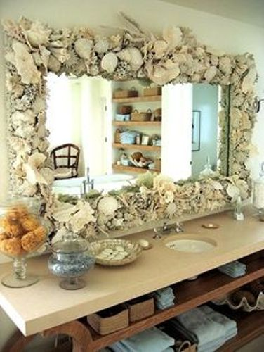Fantastic Bathroom Mirror Frame with Shells