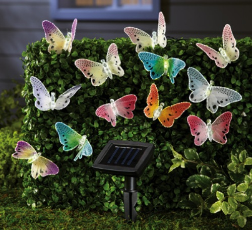 Garden with Butterfly Solar Lights