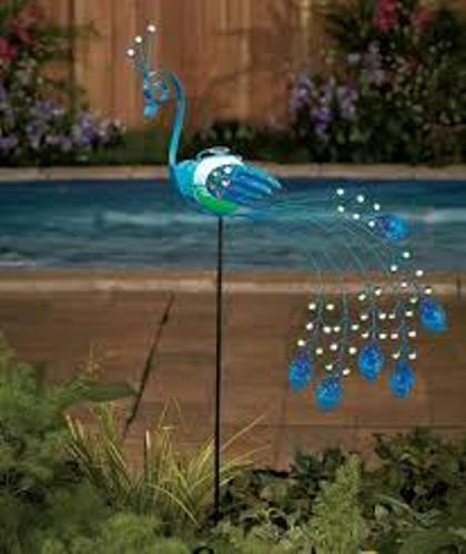 Garden with Peacock Solar Lights