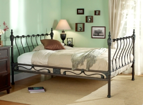 Iron Bed with Sage Green Wall Color