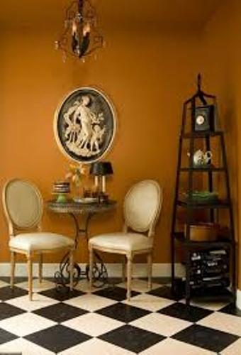 Kitchen Cafe Style with Brown Wall Color
