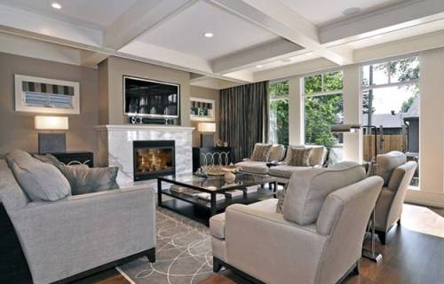 Living Room Around Fireplace Design