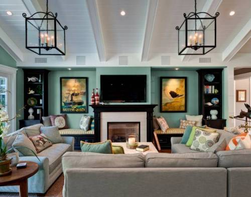 Living Room Around Fireplace with Teal Wall Color