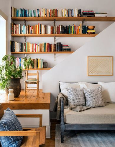 Living Room Bookshelves with Stylish Sofa