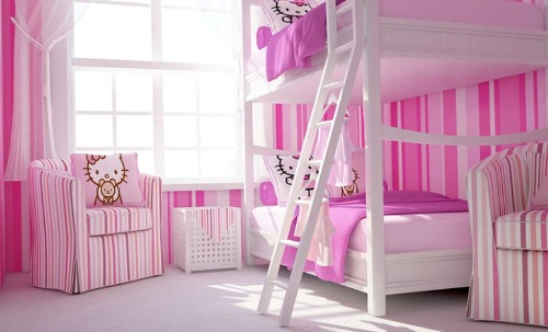 Pink Striped Wallpaper with Hello Kitty Interior Design for Modern Bedroom Design with White Bunk Bed