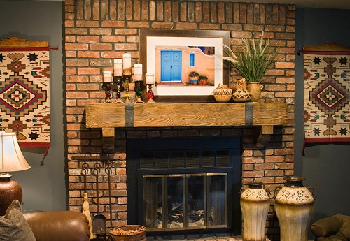 Red Brick Fireplace Mantel Pic