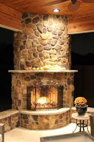Stone Round Fireplace Mantel