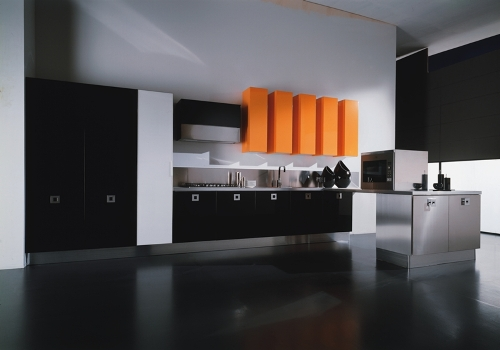 Black Kitchen Cabinets in an Apartment