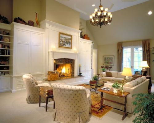 Classic Living Room with TV above Fireplace