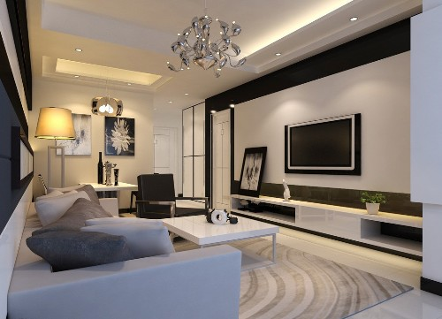 Elegant Living Room with a TV