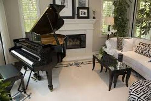 Impressive Living Room With A Grand Piano