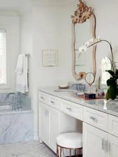 Makeup in a Small Bathroom with White Wall