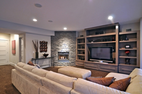 Modern Living Room with a Corner Fireplace