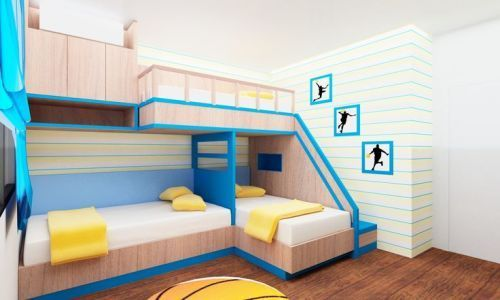 Sporty Bedroom with 3 Beds