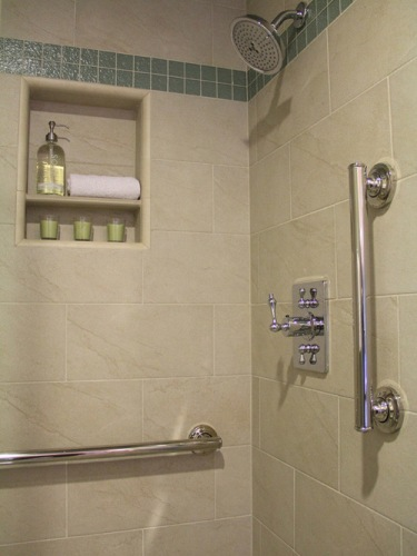 Shower Grab Bars on Tile Design